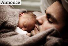 Far sover med baby